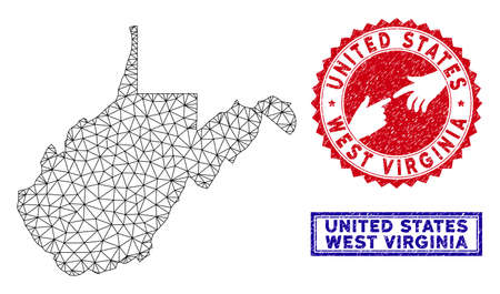 Network polygonal West Virginia State map and grunge seal stamps. Abstract lines and small circles form West Virginia State map vector model. Round red stamp with connecting hands.