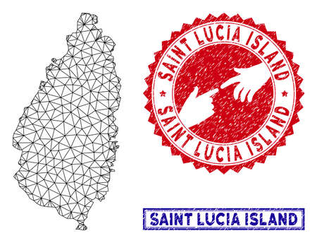 Mesh polygonal Saint Lucia Island map and grunge seal stamps. Abstract lines and spheric points form Saint Lucia Island map vector model. Round red stamp with connecting hands.