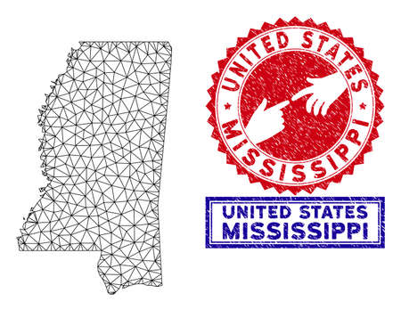 2D polygonal Mississippi State map and grunge seal stamps. Abstract lines and spheric points form Mississippi State map vector model. Round red stamp with connecting hands.