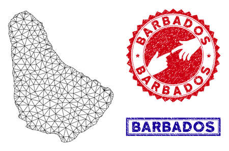 Wire frame polygonal Barbados map and grunge seal stamps. Abstract lines and spheric points form Barbados map vector model. Round red stamp with connecting hands.