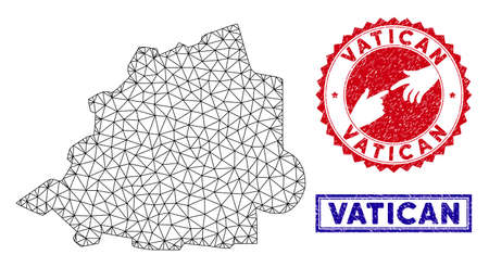 Wire frame polygonal Vatican map and grunge seal stamps. Abstract lines and circle dots form Vatican map vector model. Round red stamp with connecting hands. 向量圖像