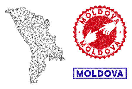 Wire frame polygonal Moldova map and grunge seal stamps. Abstract lines and points form Moldova map vector model. Round red stamp with connecting hands.