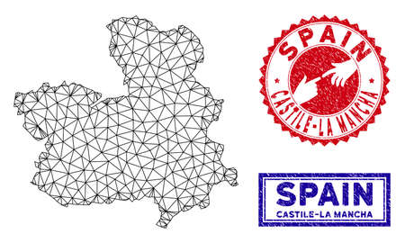 Wire frame polygonal Castile-La Mancha Province map and grunge seal stamps. Abstract lines and dots form Castile-La Mancha Province map vector model. Round red stamp with connecting hands.