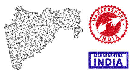 Carcass polygonal Maharashtra State map and grunge seal stamps. Abstract lines and spheric points form Maharashtra State map vector model. Round red stamp with connecting hands.