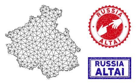 Network polygonal Altai Republic map and grunge seal stamps. Abstract lines and spheric points form Altai Republic map vector model. Round red stamp with connecting hands. 矢量图像