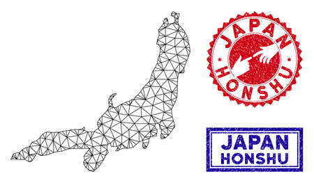 Network polygonal Honshu Island map and grunge seal stamps. Abstract lines and small circles form Honshu Island map vector model. Round red stamp with connecting hands.