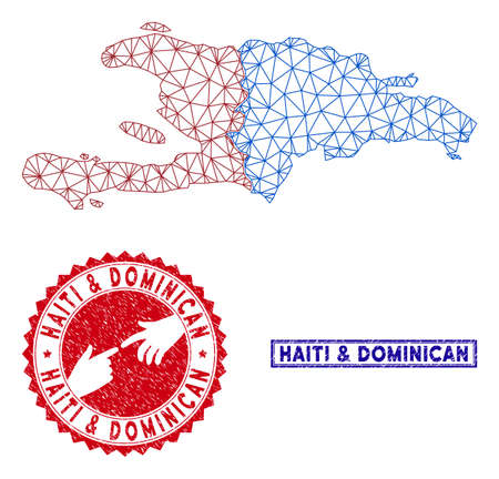 Wire frame polygonal Haiti and Dominican Republic map and grunge seal stamps. Abstract lines and points form Haiti and Dominican Republic map vector model. Round red stamp with connecting hands.