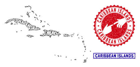 Carcass polygonal Caribbean Islands map and grunge seal stamps. Abstract lines and small circles form Caribbean Islands map vector model. Round red stamp with connecting hands.