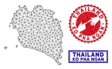 2D polygonal Ko Pha Ngan map and grunge seal stamps. Abstract lines and small circles form Ko Pha Ngan map vector model. Round red stamp with connecting hands.