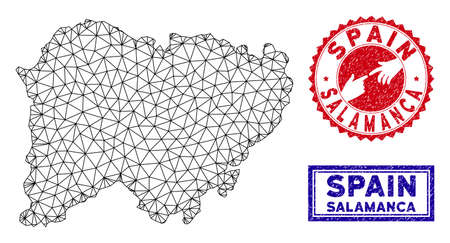 Wire frame polygonal Salamanca Province map and grunge seal stamps. Abstract lines and spheric points form Salamanca Province map vector model. Round red stamp with connecting hands.