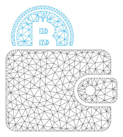 Mesh Bitcoin billfold model icon. Wire frame triangular mesh of vector Bitcoin billfold isolated on a white background. Abstract 2d mesh built from triangular lines and dots.  イラスト・ベクター素材