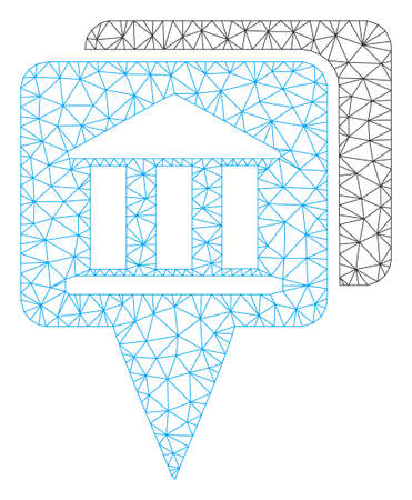 Mesh bank map pointers model icon. Wire frame triangular mesh of vector bank map pointers isolated on a white background. Abstract 2d mesh built from triangular lines and dots.