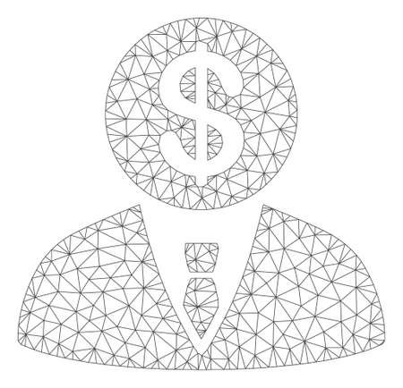 Mesh banker model icon. Wire frame polygonal mesh of vector banker isolated on a white background. Abstract 2d mesh designed with polygonal grid and points.
