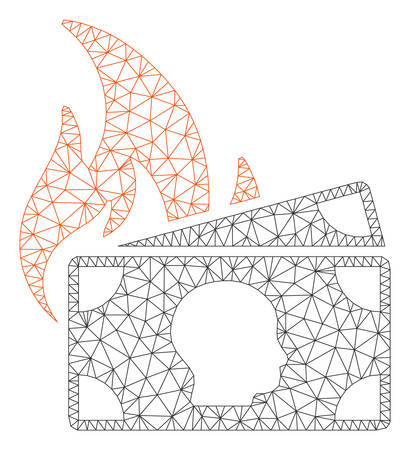 Mesh banknotes fire disaster model icon. Wire frame polygonal mesh of vector banknotes fire disaster isolated on a white background. Abstract 2d mesh designed with polygonal grid and points.