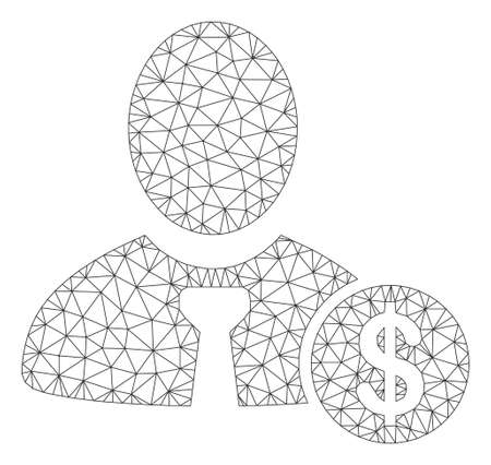 Mesh banker model icon. Wire frame polygonal mesh of vector banker isolated on a white background. Abstract 2d mesh built from polygonal grid and dots. Stock Illustratie