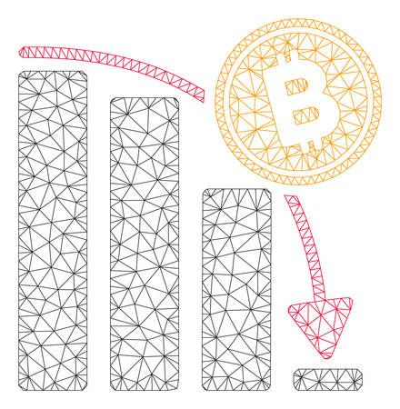 Mesh Bitcoin epic fail chart model icon. Wire frame polygonal mesh of vector Bitcoin epic fail chart isolated on a white background. Abstract 2d mesh designed with polygonal grid and dots.