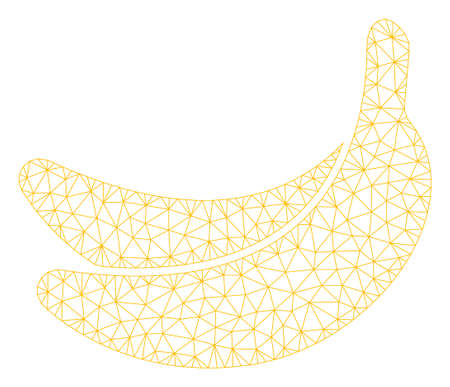 Mesh banana model icon. Wire carcass polygonal mesh of vector banana isolated on a white background. Abstract 2d mesh created from triangular lines and points.
