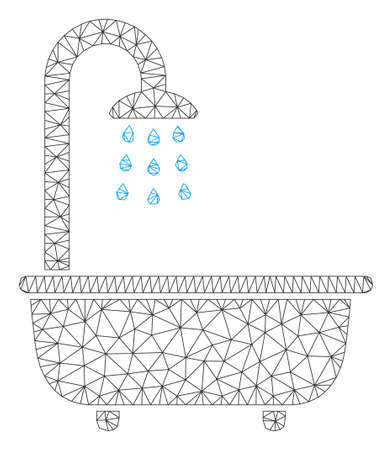 Mesh bath shower model icon. Wire frame polygonal mesh of vector bath shower isolated on a white background. Abstract 2d mesh designed with polygonal grid and dots.