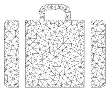 Mesh baggage model icon. Wire frame triangular mesh of vector baggage isolated on a white background. Abstract 2d mesh designed with triangular lines and dots.