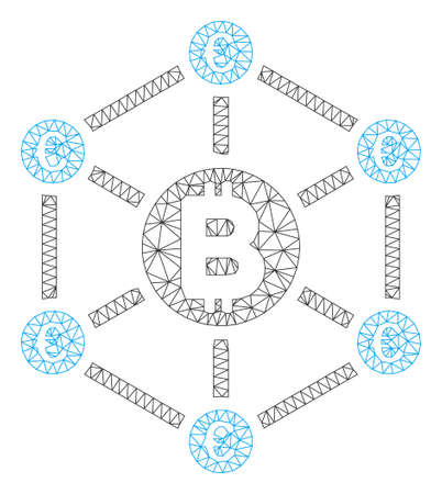 Mesh Bitcoin Euro network model icon. Wire frame triangular mesh of vector Bitcoin Euro network isolated on a white background. Abstract 2d mesh designed with triangular lines and round dots.