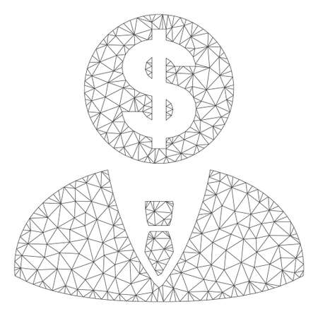 Mesh banker model icon. Wire frame triangular mesh of vector banker isolated on a white background. Abstract 2d mesh built from triangular lines and spheric points.