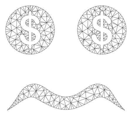 Mesh bankrupt smiley model icon. Wire carcass triangular mesh of vector bankrupt smiley isolated on a white background. Abstract 2d mesh designed with triangular lines and circle nodes. Illustration