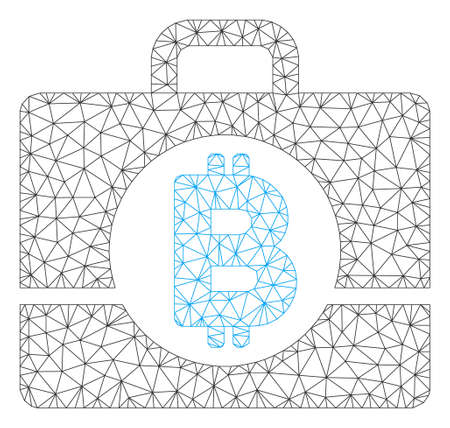 Mesh Bitcoin accounting case model icon. Wire carcass polygonal mesh of vector Bitcoin accounting case isolated on a white background. Abstract 2d mesh created from polygonal grid and round dots.