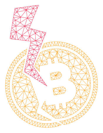 Mesh Bitcoin crash lightning model icon. Wire frame polygonal network of vector Bitcoin crash lightning isolated on a white background. Abstract 2d mesh designed with polygonal grid and circle nodes.