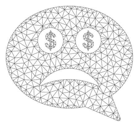 Mesh bankrupt model icon. Wire frame triangular mesh of vector bankrupt isolated on a white background. Abstract 2d mesh created from triangular lines and points.