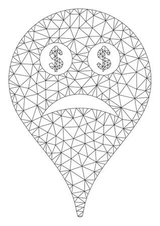 Mesh bankrupt smiley map marker model icon. Wire carcass triangular mesh of vector bankrupt smiley map marker isolated on a white background.