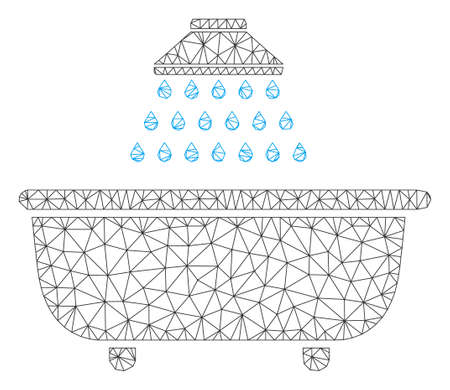 Mesh bath shower model icon. Wire frame triangular mesh of vector bath shower isolated on a white background. Abstract 2d mesh created from triangular lines and small circle.