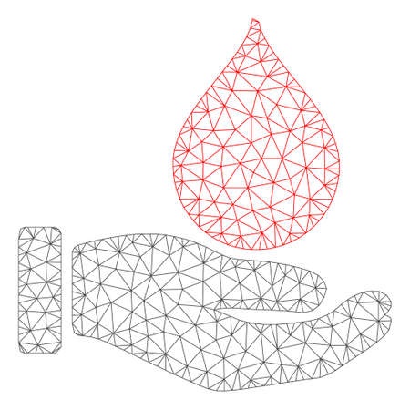 Mesh blood donation hand model icon. Wire frame polygonal mesh of vector blood donation hand isolated on a white background. Abstract 2d mesh built from polygonal grid and dots.