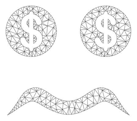 Mesh bankrupt smiley model icon. Wire carcass polygonal network of vector bankrupt smiley isolated on a white background. Abstract 2d mesh created from polygonal grid and small circle. Illustration