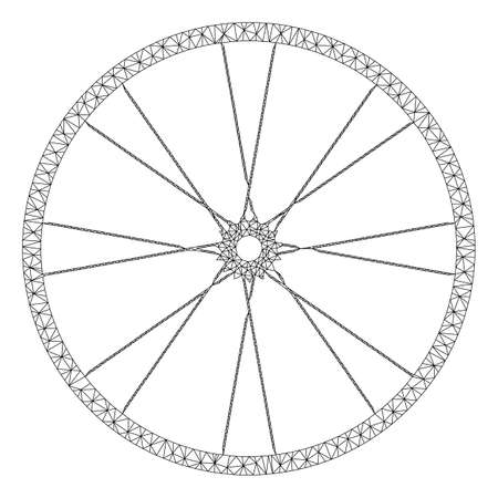 Mesh bike wheel model icon. Wire frame polygonal mesh of vector bike wheel isolated on a white background. Abstract 2d mesh built from polygonal grid and points.