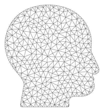 Mesh bald head model icon. Wire frame triangular mesh of vector bald head isolated on a white background. Abstract 2d mesh built from triangular lines and dots.