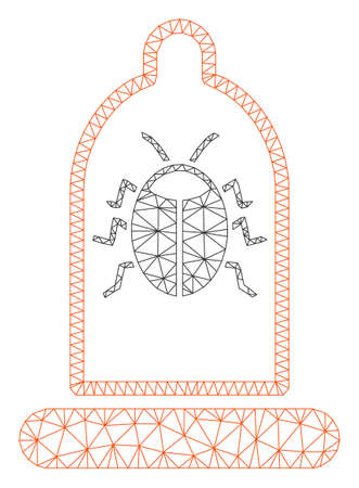 Mesh bug protection condom polygonal symbol vector illustration. Carcass model is based on bug protection condom flat icon. Triangle network forms abstract bug protection condom flat model.
