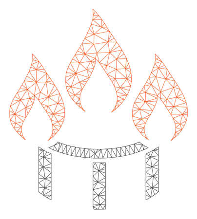 Mesh burner nozzle fire polygonal icon vector illustration. Carcass model is created from burner nozzle fire flat icon. Triangle mesh forms abstract burner nozzle fire flat model.