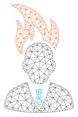 Mesh burn businessman head polygonal symbol vector illustration. Carcass model is based on burn businessman head flat icon. Triangular network forms abstract burn businessman head flat model. 写真素材 - 124008971