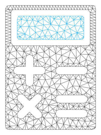 Mesh calculator polygonal 2d vector illustration. Carcass model is based on calculator flat icon. Triangular network forms abstract calculator flat model.