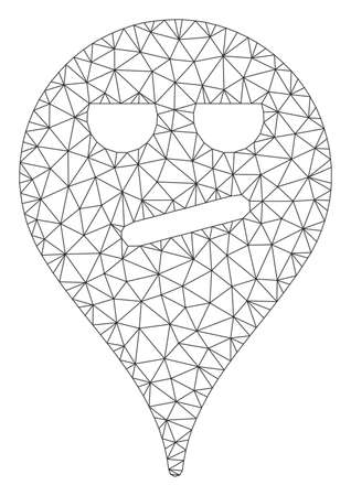Mesh bored smiley map marker polygonal icon vector illustration. Carcass model is based on bored smiley map marker flat icon. Triangle network forms abstract bored smiley map marker flat carcass. Illustration
