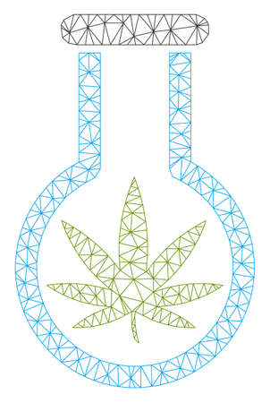 Mesh cannabis flask polygonal icon vector illustration. Carcass model is based on cannabis flask flat icon. Triangle mesh forms abstract cannabis flask flat carcass.