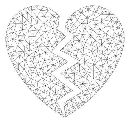 Mesh broken heart polygonal icon vector illustration. Carcass model is created from broken heart flat icon. Triangular mesh forms abstract broken heart flat carcass.
