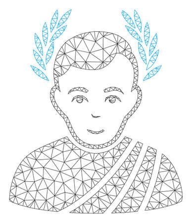 Mesh caesar wreath polygonal icon vector illustration. Abstraction is based on caesar wreath flat icon. Triangle mesh forms abstract caesar wreath flat model.