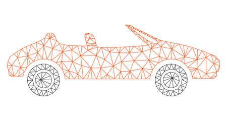 Mesh cabriolet polygonal icon vector illustration. Carcass model is created from cabriolet flat icon. Triangular network forms abstract cabriolet flat model.