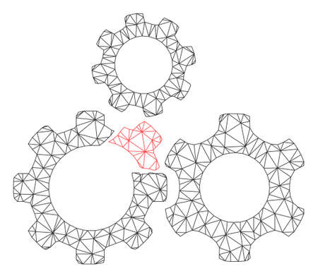 Mesh broken gear mechanism polygonal 2d vector illustration. Carcass model is based on broken gear mechanism flat icon. Triangle mesh forms abstract broken gear mechanism flat carcass.