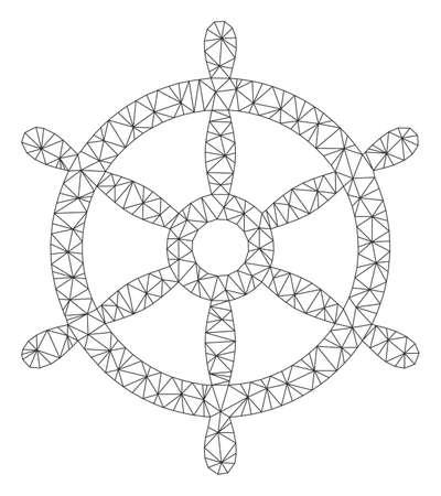Mesh boat steering wheel polygonal symbol vector illustration. Carcass model is based on boat steering wheel flat icon. Triangular mesh forms abstract boat steering wheel flat model.