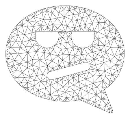 Mesh bored smiley message polygonal icon vector illustration. Carcass model is based on bored smiley message flat icon. Triangle network forms abstract bored smiley message flat carcass.