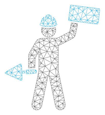 Mesh brickwork builder polygonal icon vector illustration. Carcass model is based on brickwork builder flat icon. Triangular net forms abstract brickwork builder flat model.