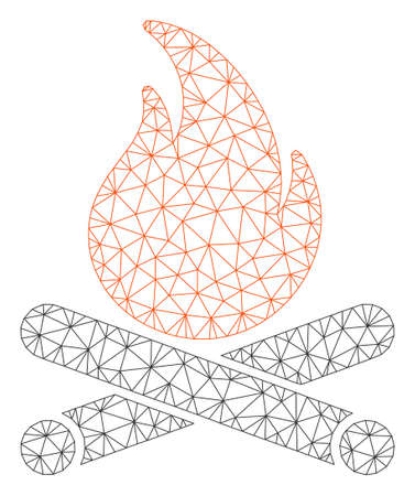 Mesh campfire polygonal icon vector illustration. Model is based on campfire flat icon. Triangle mesh forms abstract campfire flat model. Illustration