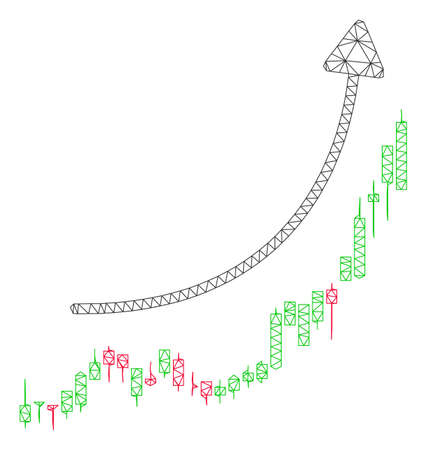 Mesh candlestick chart growth trend polygonal icon vector illustration. Carcass model is based on candlestick chart growth trend flat icon.